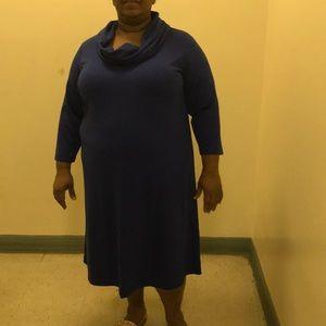 Blue Cowell Neck Dress
